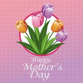 Szczęśliwy dzień matki karty tulipany i serca tło