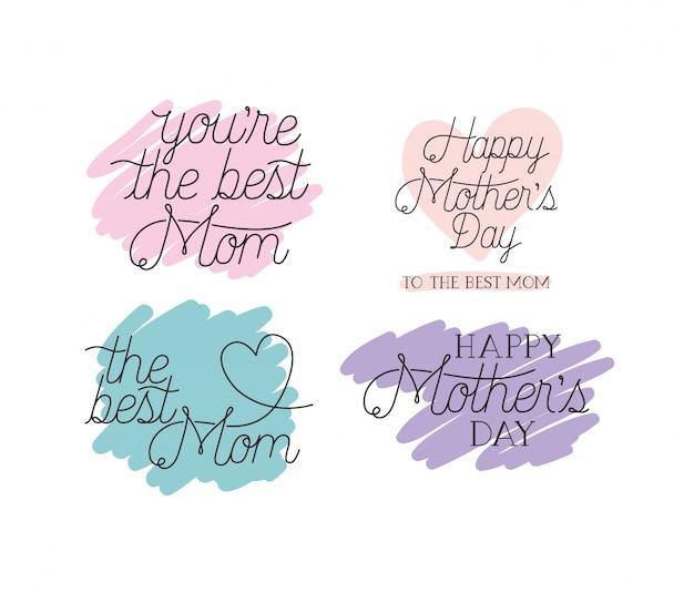 Szczęśliwy dzień matki karty ustawić wiadomości kaligrafii
