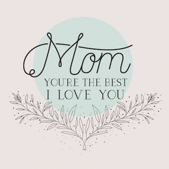 Szczęśliwy dzień matki karty z ziół okrągłe ramki