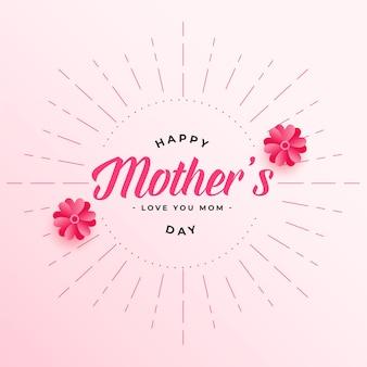 Szczęśliwy dzień matki kwiat ozdobny projekt karty