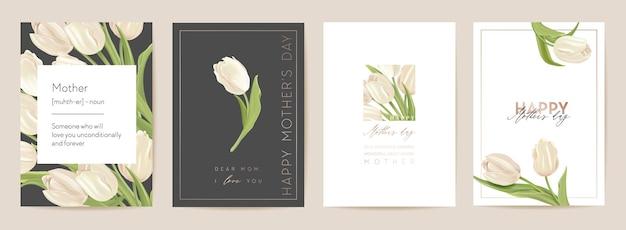 Szczęśliwy dzień matki kwiatowy pocztówka. ilustracja wektorowa bukiet wiosna. powitanie realistyczny szablon kwiatów tulipanów, nowoczesne tło kwiatowe, karta mama i dziecko, nowoczesny projekt letniego przyjęcia dla matek
