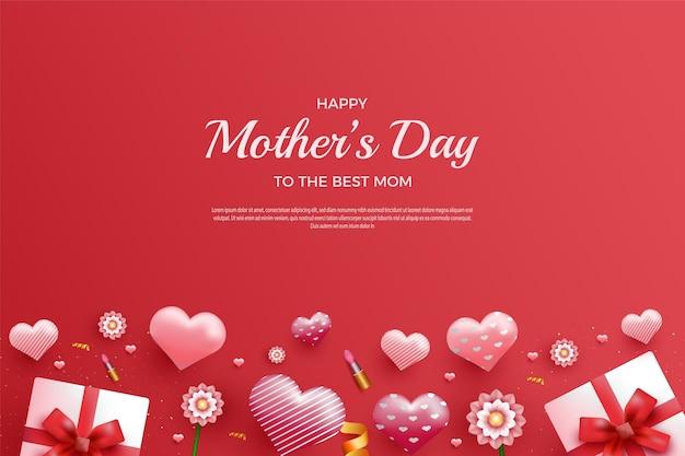 Szczęśliwy dzień matki na czerwonym tle i z pudełkiem na prezent