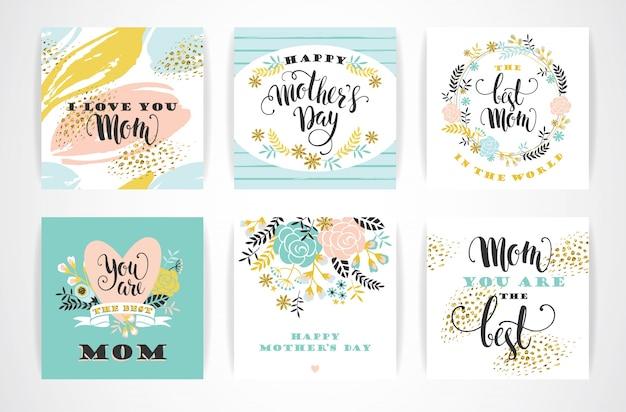 Szczęśliwy dzień matki napis kartki z kwiatami