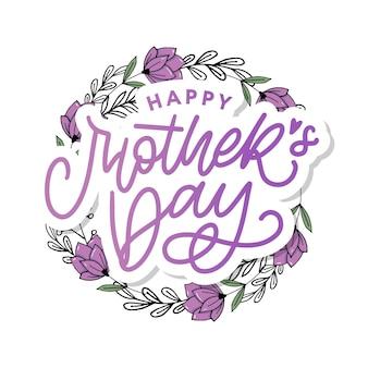 Szczęśliwy dzień matki napis ręcznie kaligrafia ilustracja karta dzień matki z sercem