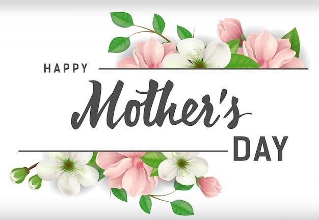 Szczęśliwy dzień matki napis z kwiatami na białym tle. karty z pozdrowieniami dzień matki