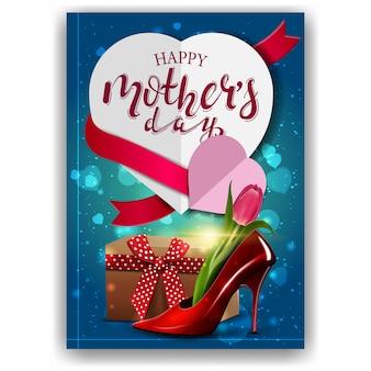 Szczęśliwy dzień matki, nowoczesne czerwone gratulacje pocztówka