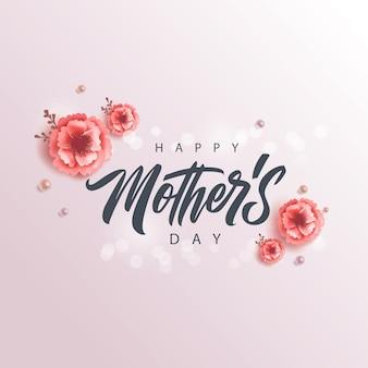 Szczęśliwy dzień matki odręcznie napis, karty z pozdrowieniami