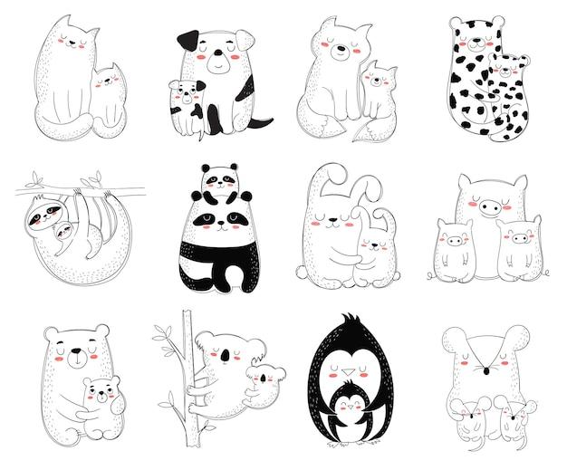 Szczęśliwy dzień matki pocztówka wektorowa kreskówka doodle ilustracje mama kot z dzieckiem