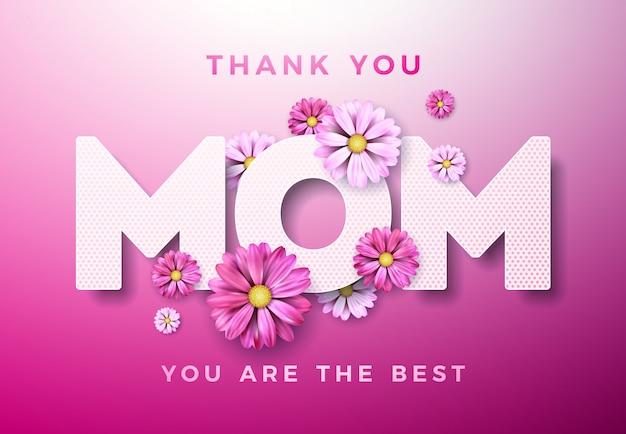 Szczęśliwy dzień matki powitanie karta z kwiatem i dziękuję mama elementy typograficzne