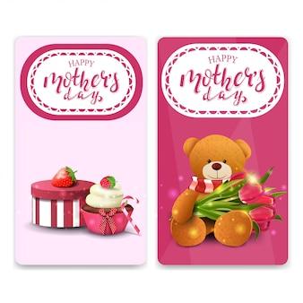 Szczęśliwy dzień matki pozdrowienia pionowe karty