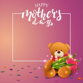 Szczęśliwy dzień matki pozdrowienia różowy karty