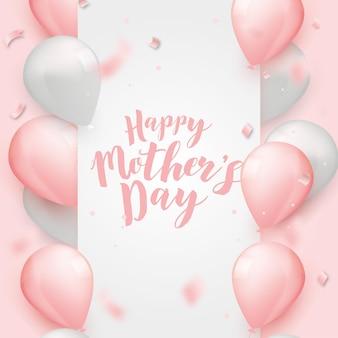 Szczęśliwy dzień matki rama z realistycznymi balonami
