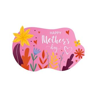 Szczęśliwy dzień matki - ręcznie rysowane frazy kaligrafii z kwiatami. wakacyjny napis na kartę, plakat, baner, notatnik, wystrój domu. ilustracja wektorowa atramentu.