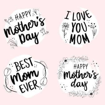 Szczęśliwy dzień matki ręcznie rysowane kolekcja odznaka napis