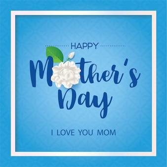 Szczęśliwy dzień matki tajski z kwiatem jaśminu na niebieskim tle.
