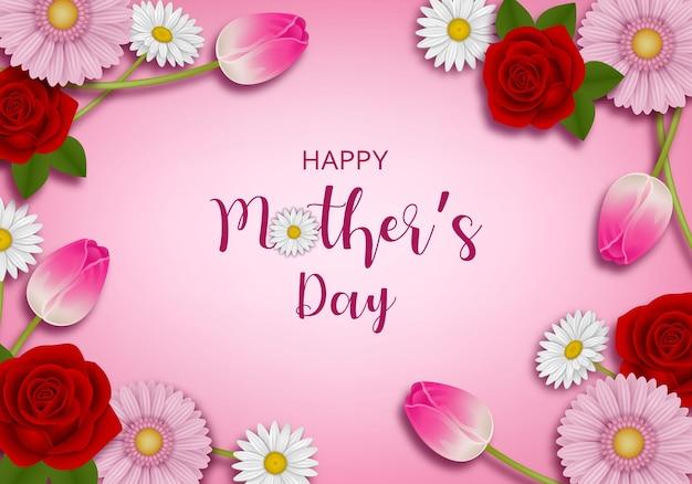 Szczęśliwy dzień matki tło z kwiatami