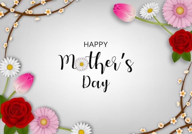 Szczęśliwy Dzień Matki Tło Z Kwiatami Premium Wektorów