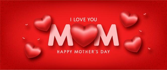 Szczęśliwy dzień matki tło z realistycznymi czerwonymi sercami