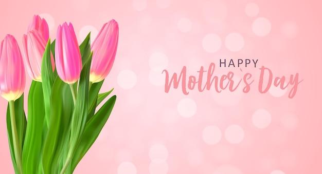 Szczęśliwy dzień matki tło z realistycznymi kwiatami tulipanów