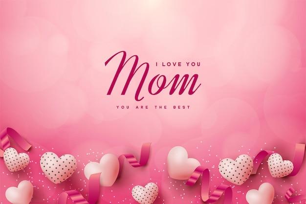 Szczęśliwy dzień matki tło z różowymi balonami miłości.