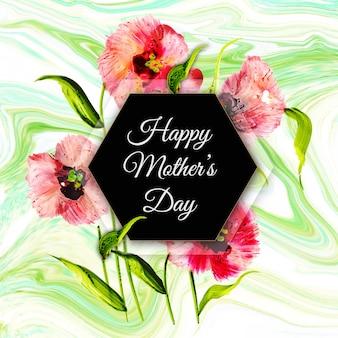 Szczęśliwy dzień matki tło z tekstury kwiatowy i marmur