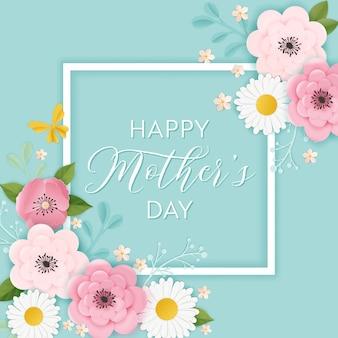 Szczęśliwy dzień matki transparent wakacje. kartka z życzeniami na dzień matki przywitaj wiosnę wycinanka papieru z kwiatami i pocztówka typografia motyl. ilustracja wektorowa