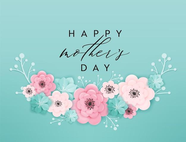 Szczęśliwy dzień matki transparent wakacje. kartkę z życzeniami dzień matki przywitaj wiosnę papieru wyciąć projekt z kwiatami i kwiatowymi elementami typografii plakat. ilustracja wektorowa