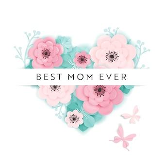Szczęśliwy dzień matki transparent wakacje. kartkę z życzeniami dzień matki przywitaj wiosnę papieru wyciąć projekt z kwiatami i plakat typografii serca. ilustracja wektorowa