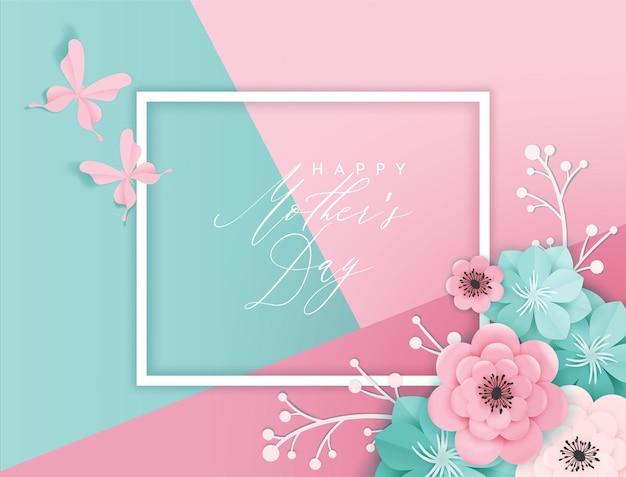 Szczęśliwy dzień matki transparent wakacje. kartkę z życzeniami dzień matki przywitaj wiosnę papieru wyciąć projekt z kwiatów i motyli typografia plakat. ilustracja wektorowa