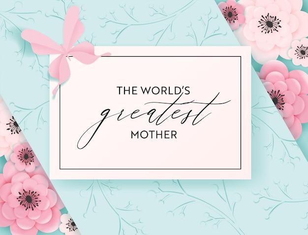 Szczęśliwy dzień matki transparent wakacje. kartkę z życzeniami na dzień matki przywitaj wiosnę z wycinanym papierem z kwiatami i plakatem typografii motyla. ilustracja wektorowa