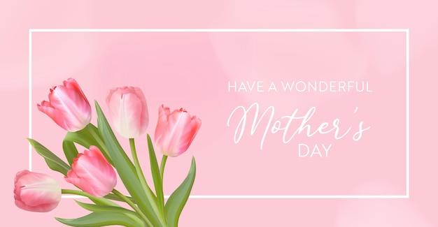 Szczęśliwy dzień matki transparent. wektor powitanie wiosna tło. realistyczny projekt kwiatów tulipanów. dzień kobiety, 8 marca międzynarodowy dzień karta ilustracja. szablon transparentu świątecznego, ulotka, zaproszenie, plakat