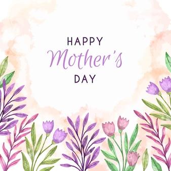 Szczęśliwy dzień matki w stylu przypominającym akwarele