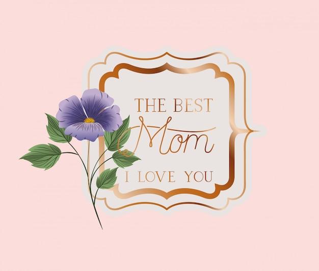 Szczęśliwy dzień matki wiktoriański kwadrat ramki z kwiatami