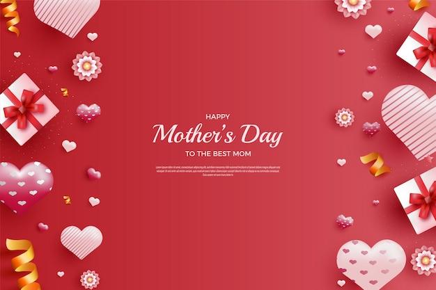 Szczęśliwy dzień matki z balonami i pudełkami na prezenty ustawionymi w prawo i w lewo