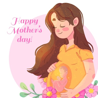 Szczęśliwy dzień matki z kobietą w ciąży