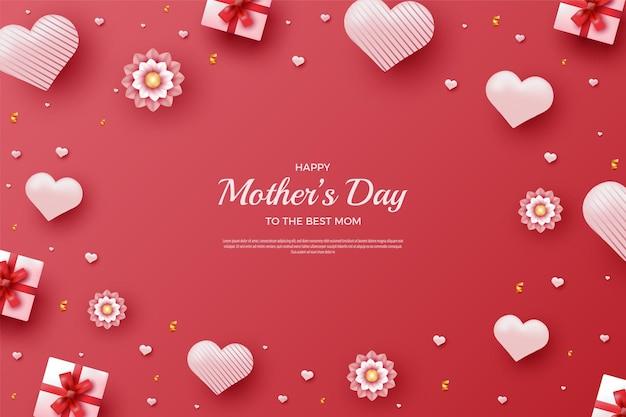Szczęśliwy dzień matki z ozdobnymi balonami w kształcie serca i pudełkami prezentowymi otaczającymi pismo
