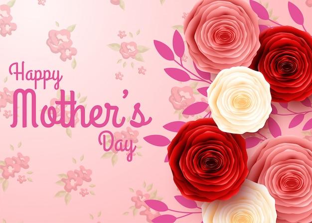 Szczęśliwy dzień matki z tłem kwiatów