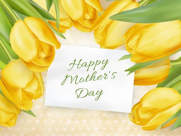Szczęśliwy dzień matki z tulipanowym tłem.