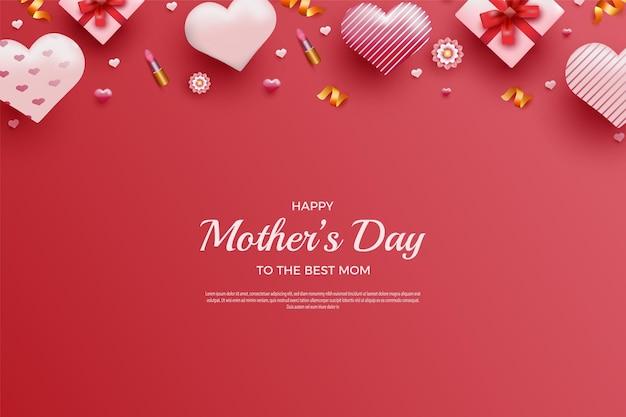 Szczęśliwy dzień matki ze słodką szminką i dekoracją kwiatową