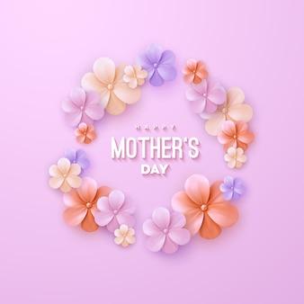 Szczęśliwy dzień matki znak z kwiatami na różowym tle