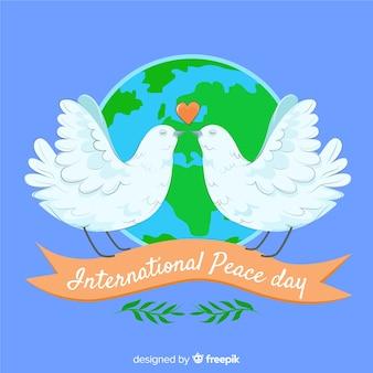 Szczęśliwy dzień międzynarodowego pokoju tło