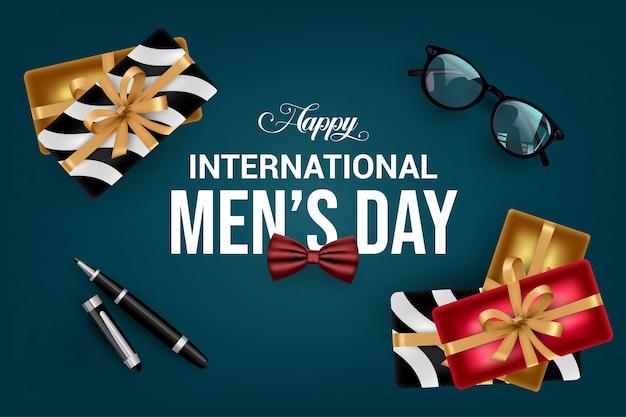 Szczęśliwy dzień międzynarodowy mężczyzna tło