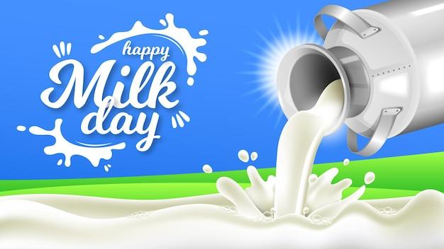 Szczęśliwy dzień mleka z realistycznymi puszkami na mleko