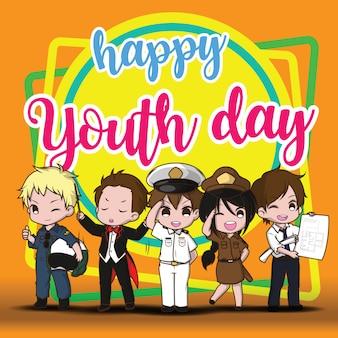 Szczęśliwy dzień młodości. dzieci w akcydensowym kostiumu. akcydensowy pojęcie.