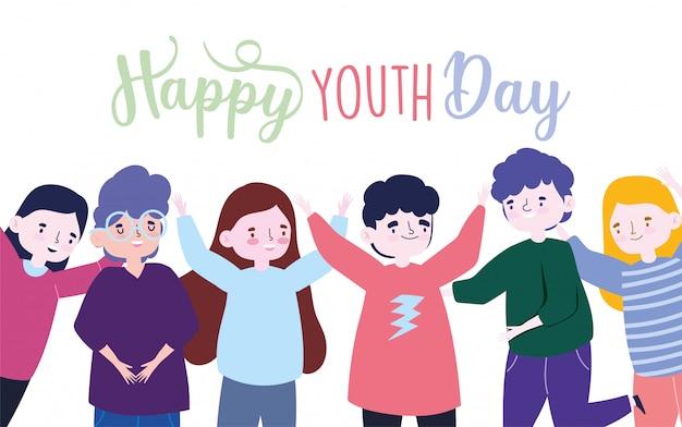 Szczęśliwy dzień młodzieży celebracja postać z kreskówki grupy ludzi