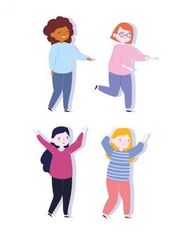 Szczęśliwy dzień młodzieży celebracja postać z kreskówki kobiet ikony