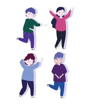 Szczęśliwy dzień młodzieży celebracja postać z kreskówki kobieta i mężczyźni razem