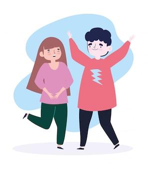 Szczęśliwy dzień młodzieży celebracja postać z kreskówki młody mężczyzna i kobieta