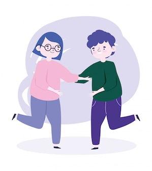 Szczęśliwy dzień młodzieży celebracja postać z kreskówki wesoły młody mężczyzna i kobieta