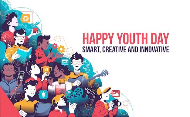 Szczęśliwy dzień młodzieży, inteligentny, kreatywny i innowacyjny